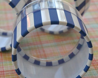 QTY 30 Favor or Storage Boxes with Clear Lids and Bottoms - Plastic - Blue Striped