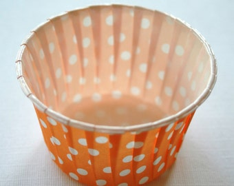 Polka Dot Nut or Portion Paper Baking Cups - Orange and White - set of 24