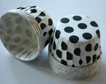 Polka Dot Nut or Portion Paper Baking Cups - White with Black - set of 36