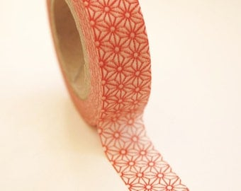 Washi Tape - 15mm - Red and White Geometric Pattern - Deco Paper Tape no. 341