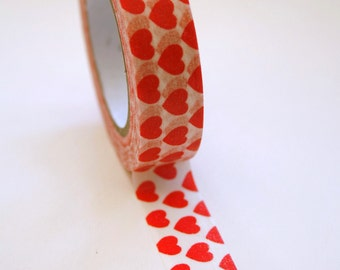 Washi Tape - 15mm - Red Hearts on White - Deco Paper Tape No. 257