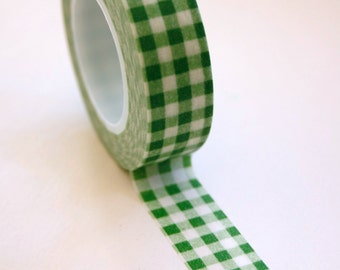 Washi Tape - 15mm - Green Gingham - Christmas - Deco Paper Tape No. 79