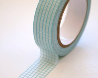 Washi Tape - 15mm - Blue Graph Paper Grid Design on White - Deco Paper Tape No. 58
