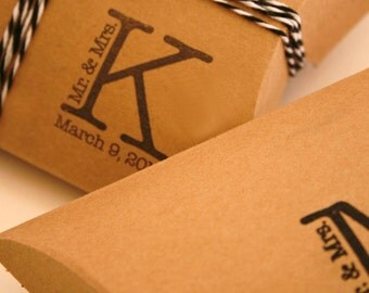 Custom Stamped- Brown Medium Size Kraft Pillow Boxes - set of 200 - Perfect for Embellishing with Deco Tapes - 4 1/2 x 4 1/2 x 1 1/2 Inches