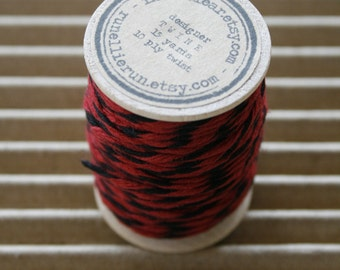 15 Yards Spool - Red and Black - 10 Ply Bakers Twine - Black Red Twist - Heavy Twine