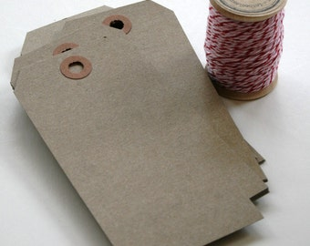 Large Shipping Paper Tags - Natural Brown Kraft Hang Tags - Reinforced Hang Tags - 2 3/8 x 4 3/4 - Pack of 50