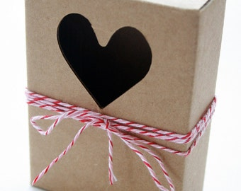 Heavy Kraft Cardboard Boxes set of 6 - Heart Cut Out - Perfect Size for GIfts or Packaging Valentines