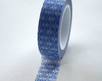 Washi Tape - 15mm - Periwinkle Blue and White Geometric Pattern - Deco Paper Tape No. 344
