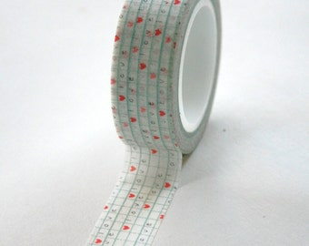 Washi Tape - 15mm - Blue Grid and Heart L O V E Love Pattern - Deco Paper Tape No. 61