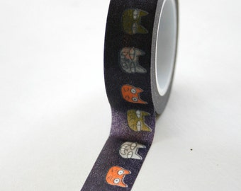 Washi Tape - 15mm - Multi Color Cats on Black Pattern - Deco Paper Tape No. 307