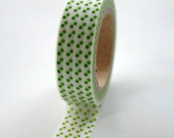 Washi Tape - 15mm - Green Polka Dot on White - Deco Paper Tape No. 204