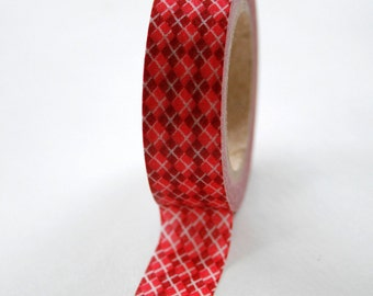 Washi Tape - 15mm - Red Argyle on White - Deco Paper Tape No. 100