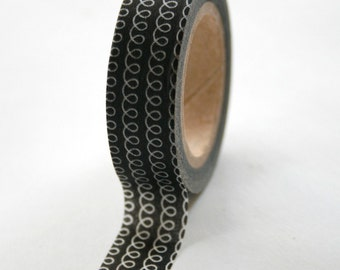 Washi Tape - 15mm - Black Loop - Deco Paper Tape no. 84