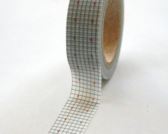 Washi Tape - 15mm - Grey and Salmon Grid - Deco Paper Tape No. 56