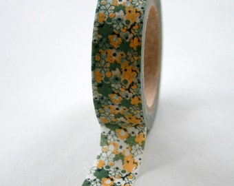 Washi Tape - 15mm - Green and Yellow Spring Flowers - Deco Paper Tape No. 217