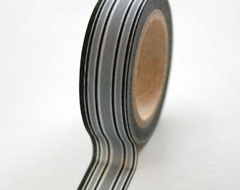 Washi Tape - 15mm - Black and Grey Stripe - Deco Paper Tape No. 122