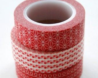 Washi Tape Set - 15mm - Combination B - Red Theme - Three Rolls Deco Tape 342/200/85