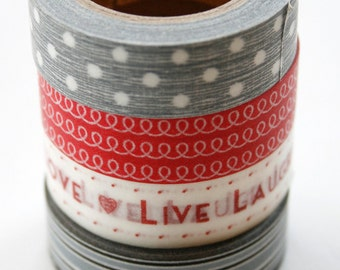 Washi Tape Set - 15mm - Combination N - Red and Grey - Four Rolls - no.85,326,190,122