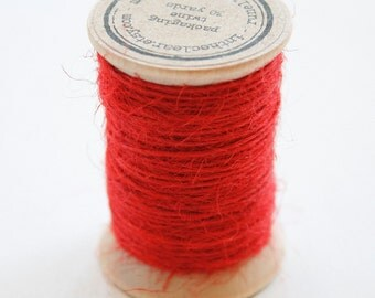 Burlap Twine - 30 Yards on Wooden Spool - Bright Red Color Jute