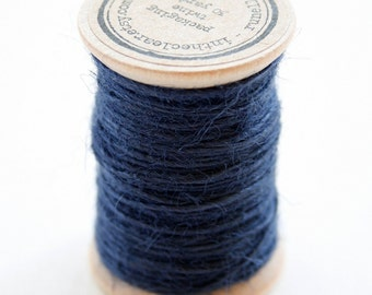 Burlap Twine - 30 Yards on Wooden Spool - Navy Color Jute