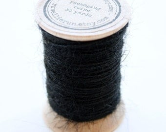 Burlap Twine - 30 Yards on Wooden Spool - Black Color Jute