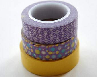 Washi Tape Set - 15mm - Combination P - Purple and Yellow - Three Rolls Washi Tape # 343,194,3