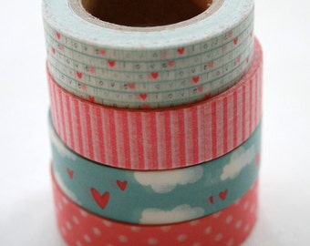 Washi Tape Set - 15mm - Combination AA - Pink and Blue Hearts - Four Rolls Washi Tape #175/ 292/61/103