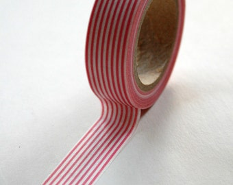 Washi Tape - 15mm - Pink Vertical Stripe Pattern - Deco Paper Tape No. 114