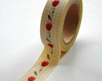 Washi Tape - 15mm - Roses and Dots on Yellow - Deco Tape No. 529