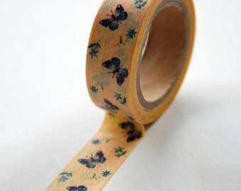 Washi Tape - 15mm - Yellow and Blue Butterflies - Deco Masking Tape No. 449