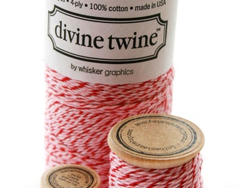 Baker's Twine Single Spool - 5 Yards - Valentine - Peppermint - Three Color White Red Pink