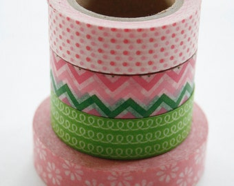 Washi Tape Set - 15mm - Combination AY - Green and Pink - Four Rolls Washi Tape 87 / 143 / 197 / 213