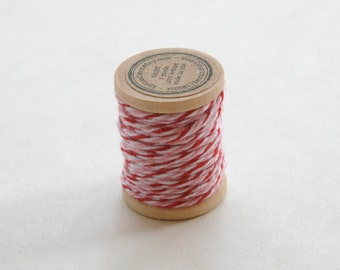 Baker's Twine on Wooden Spool - 5 Yards - 4 Ply Cotton Made in USA - Valentine Peppermint Red Pink White