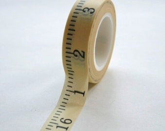 Washi Tape - 15mm - Yellow Tape Measure Style Tape - Measuring Tape - Deco Paper Tape No. 297