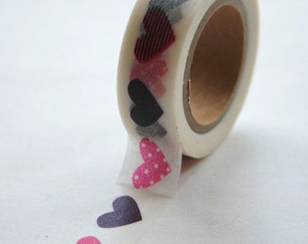 Washi Tape - 15mm - Pink and Purple Hearts on White Pattern - Deco Paper Tape No. 258