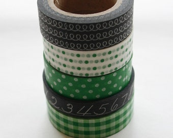 Washi Tape Set - 15mm - Combination BS - Black and Green - Five Rolls Washi Tape 84/185/174/317/94