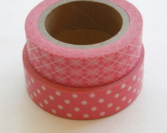 Washi Tape Set - 15mm - Combination BY - Pink Patterns - Deco Paper Tape Two Rolls No. 95 / 175