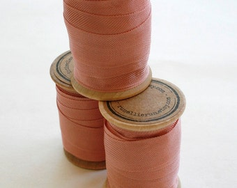 Rayon Binding Tape - 1/2 Inch Wide - 10 Yds Rose Petal on Wooden Spool - Packaging and Gift Ribbon