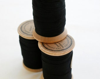 Rayon Binding Tape - 1/2 Inch Wide - 10 Yds Black on Wooden Spool - Packaging and Gift Ribbon