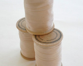 Rayon Binding Tape - 1/2 Inch Wide - 10 Yds Cameo Beige on Wooden Spool - Packaging and Gift Ribbon