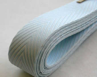 Chevron Twill Herringbone Ribbon - Baby Blue and White 3/4 Inch Width - Packaging and Gift Ribbon