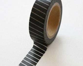 Washi Tape - 15mm - White Diagonal Thin Lines on Black - Deco Paper Tape No. 157