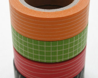 Washi Tape Set - 15mm - Combination CC Bright Basics - Four Rolls Washi Tape no.111, 157, 57, 247
