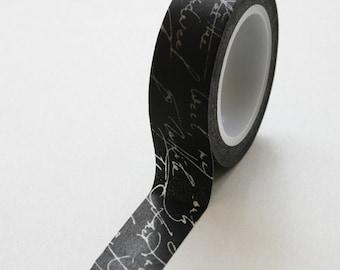 Washi Tape - 15mm - White Script on Black - Deco Paper Tape No. 322