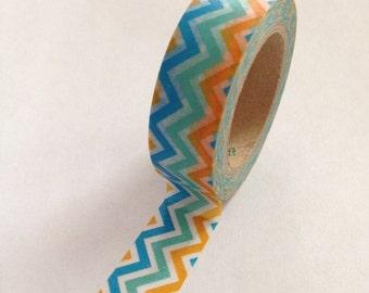Washi Tape - 15mm - Multi Colored Turquoise Aqua Orange Chevron Pattern - Deco Paper Tape No. 482