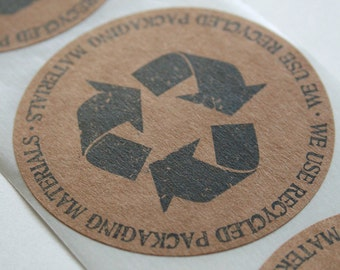 QTY 50 Recycled Packaging Sticker - Let Your Customers Know You Recycle - 2.5 Inch Round Stickers - Recycled Brown Kraft