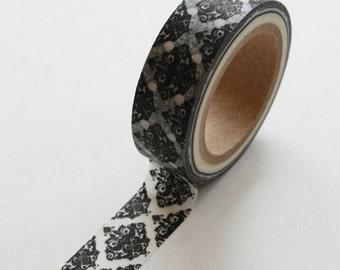 Washi Tape - 15mm - Black Decorative Flourish on White - Deco Paper Tape No. 289
