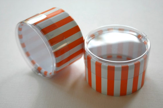 One Dozen Favor or Storage Boxes with Clear Lids and Bottoms - Plastic - Orange Striped