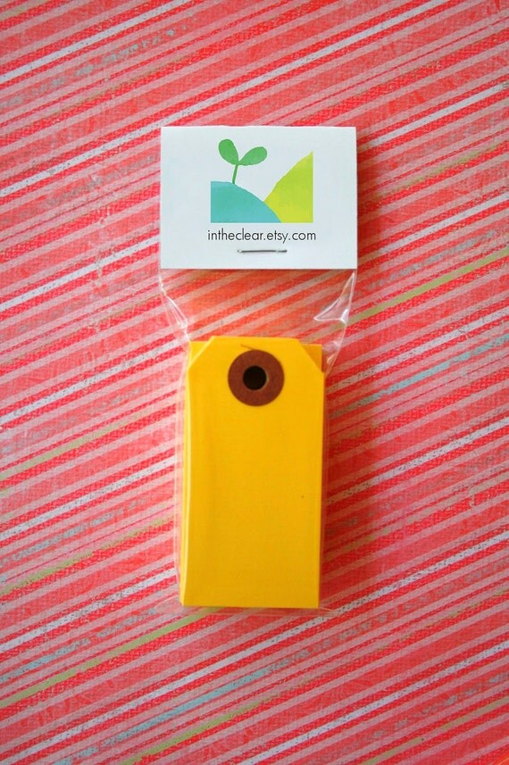 Mini Shipping Paper Tags - Sixteen Colors Available - 1.375 x 2.75 - Pack of 25 - Yellow