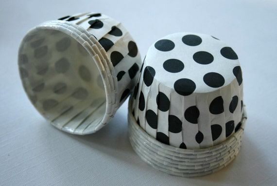 Polka Dot Nut or Portion Paper Baking Cups - White with Black - set of 24